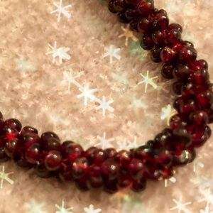 GARNET Necklace Rhodolite Torsade Genuine 26""